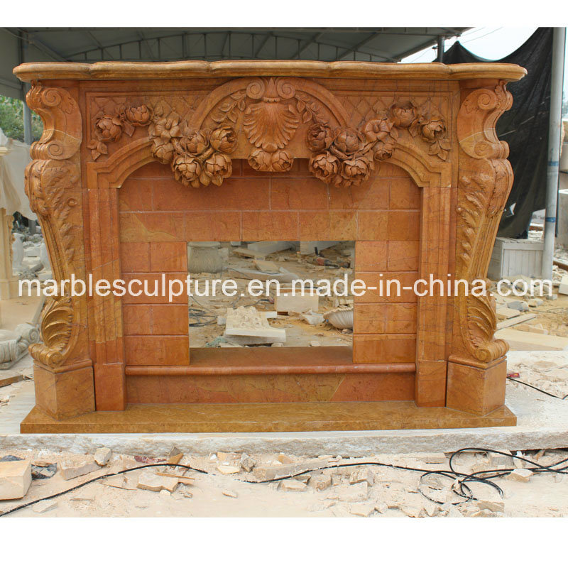 Yellow Sculpture Marble Fireplace (SY-MF043) pictures & photos