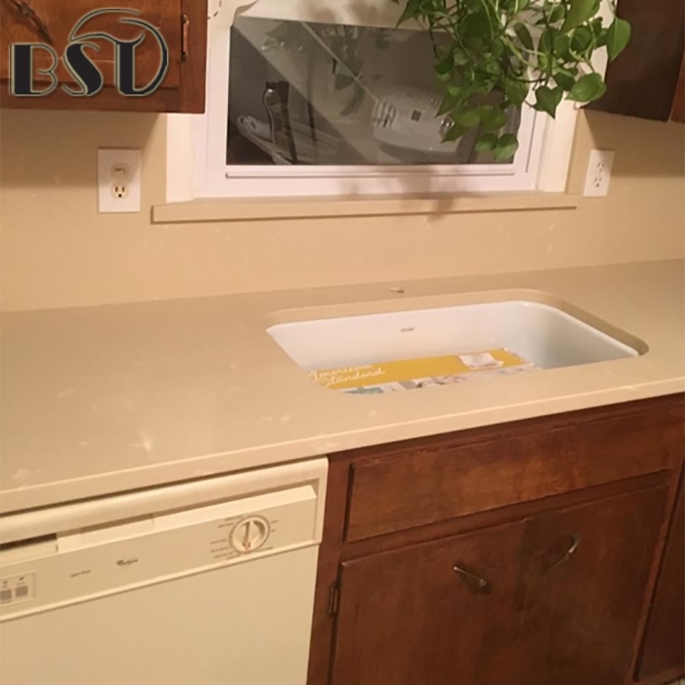 Beige Quartz Stone Kitchen Countertop