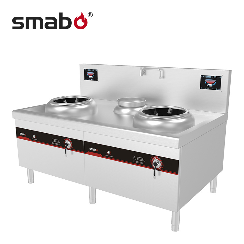 Double Burners Induction Wok Cooker