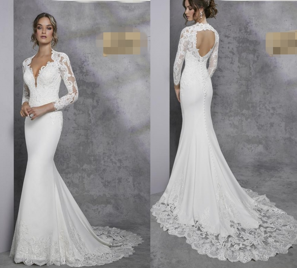 China Long Sleeves Lace Bridal Gown Backless Beach Jersey