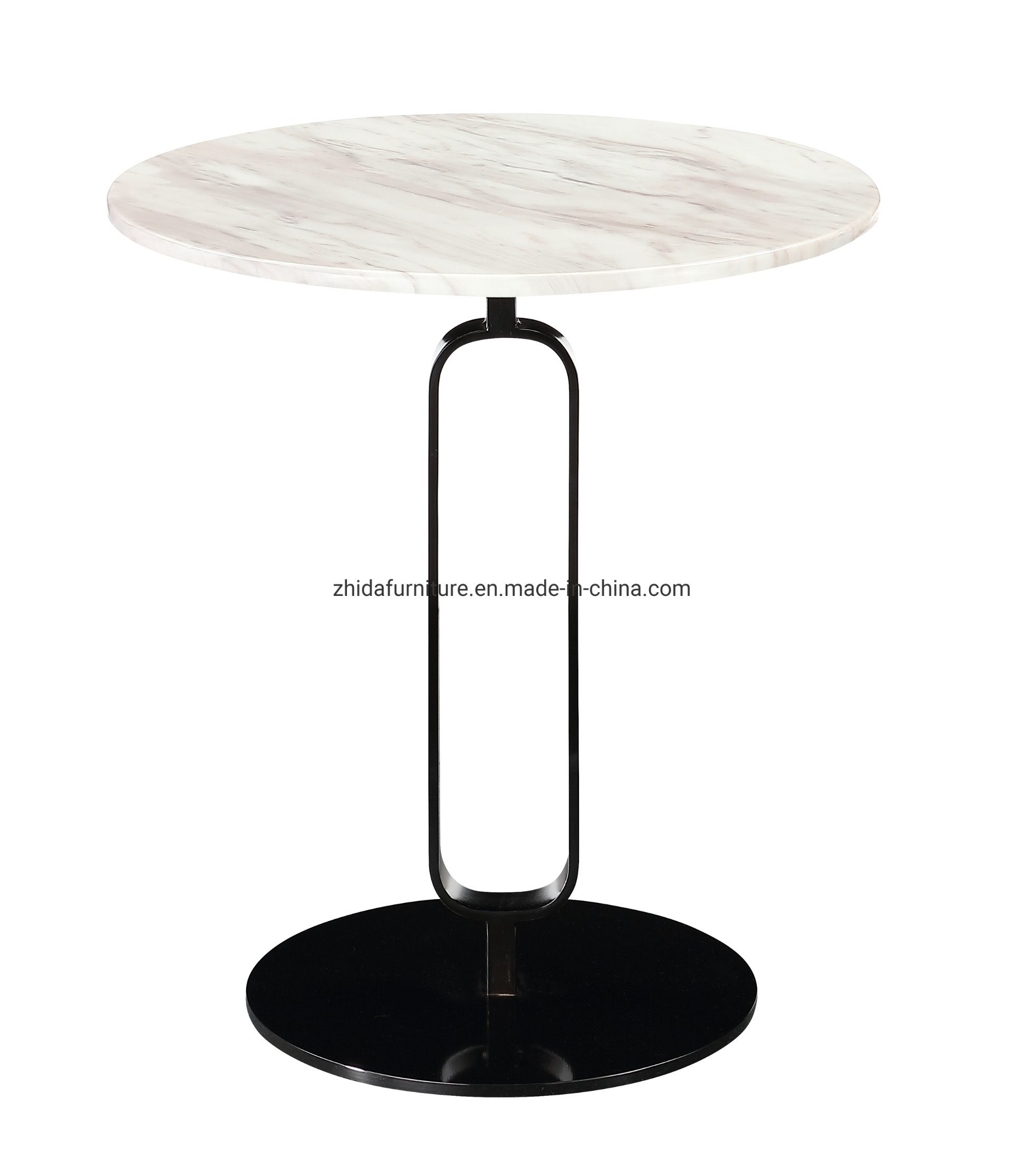 - China White Marble Top Black Base Hotel Bedroom Reception Coffee