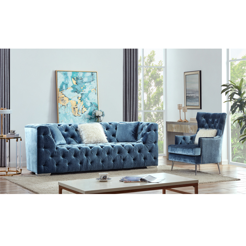 On Tufting Blue Color Chesterfield