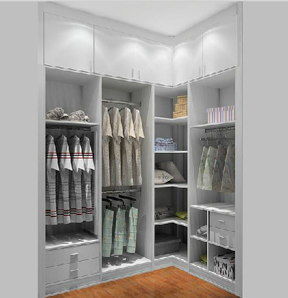 Open Style Solid L Type Walk In Closet Wardrobe