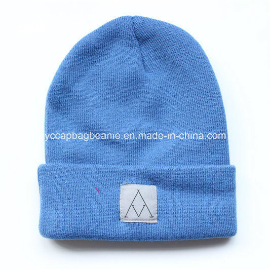 China 100%Acrylic Promotional Knit Beanie with Woven Label Logo ... 6cbbe3dcdfd6