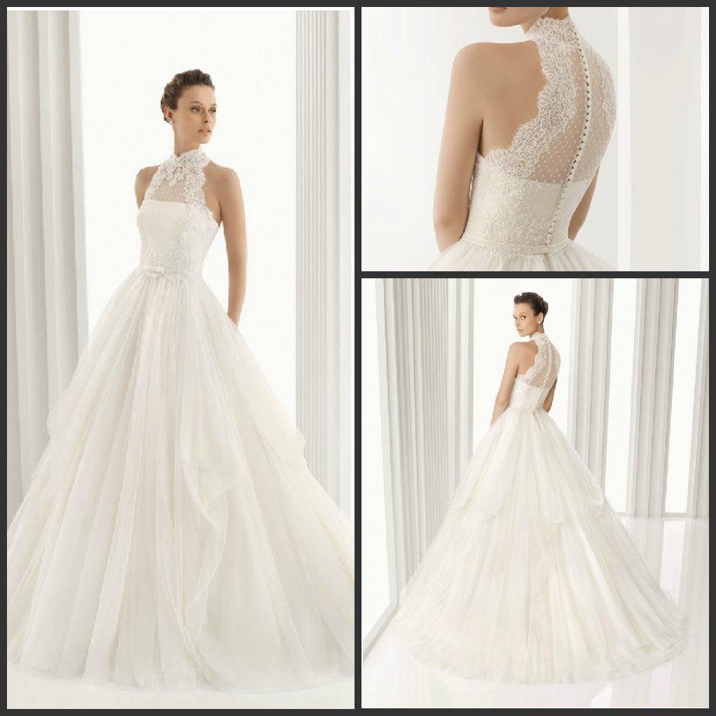 China Lace Bridal Ball Gown Spanish Collar Wedding Dress H201671 ...
