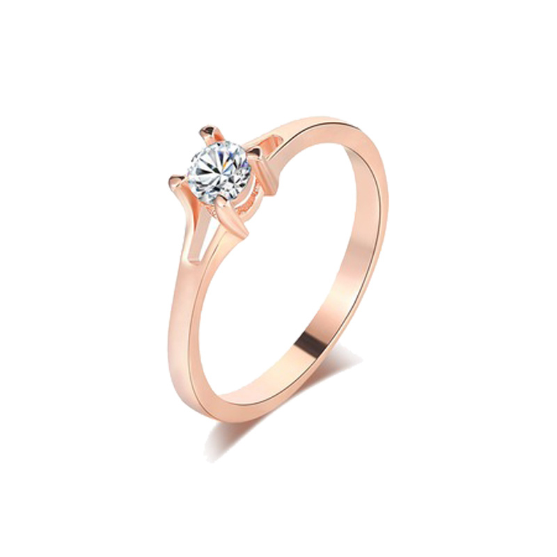 China New Fashion Lady 925 Silver Simple Design Classic Round Diamond Gold Engagement Ring Jewelry China 925 Sterling Silver Rings And Silver 925 Rings Price