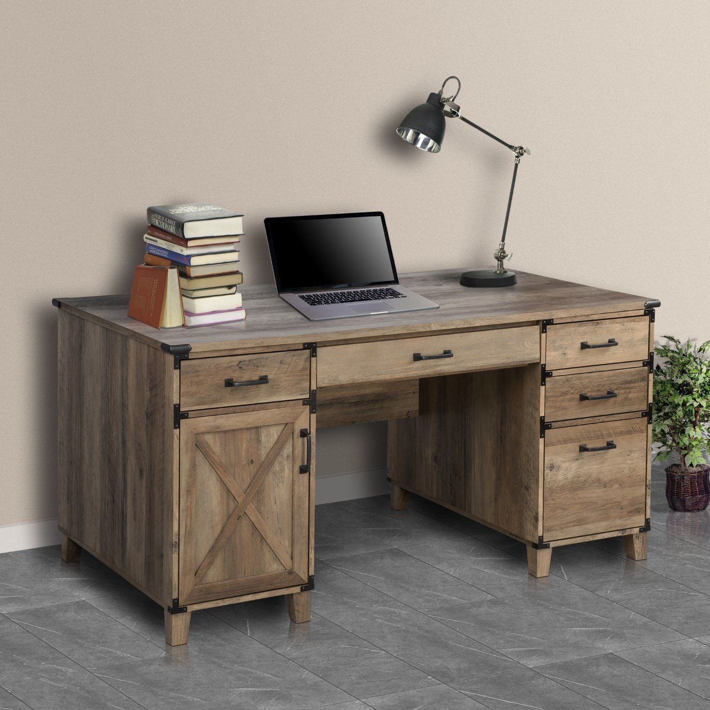 China Home Office Furniture Living Room Wooden Rustic Oak Color Luxury Fashion Writing Desk Executive Table Computer Desk With Cabinet Drawer China Pedestal Desk Office Furniture Computer Desk