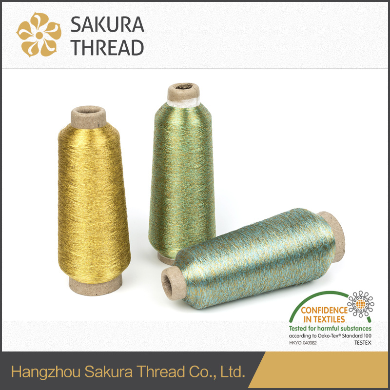 Gold Lurex Metallic Thread for Label Embroidery China Suppiler pictures & photos