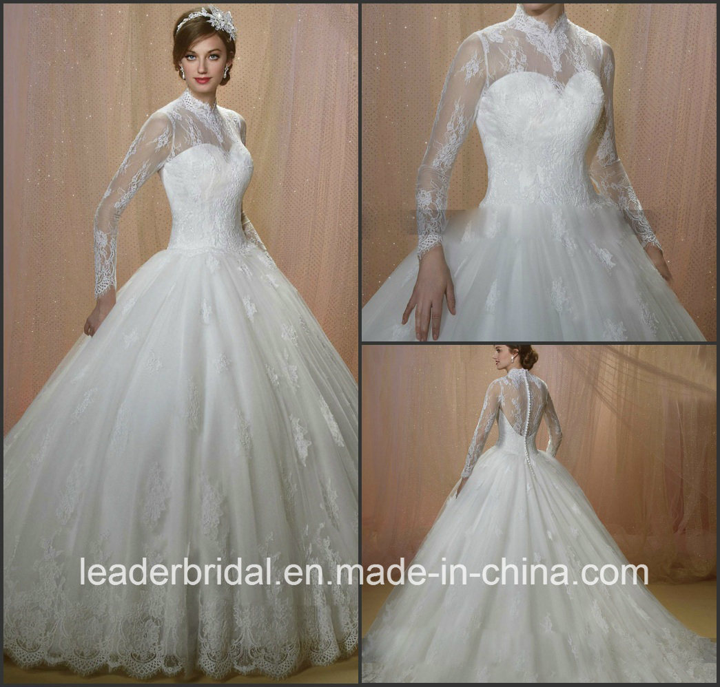 China Muslim Bridal Wedding Dress Long Sleeves Lace Wedding Gown ...