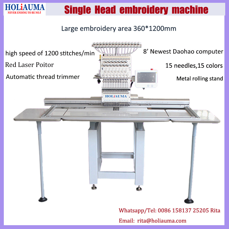 Holiauma 1 Head Cap and T-Shirt Type Flat Computerized Embroidery Machine Price China for Single Head