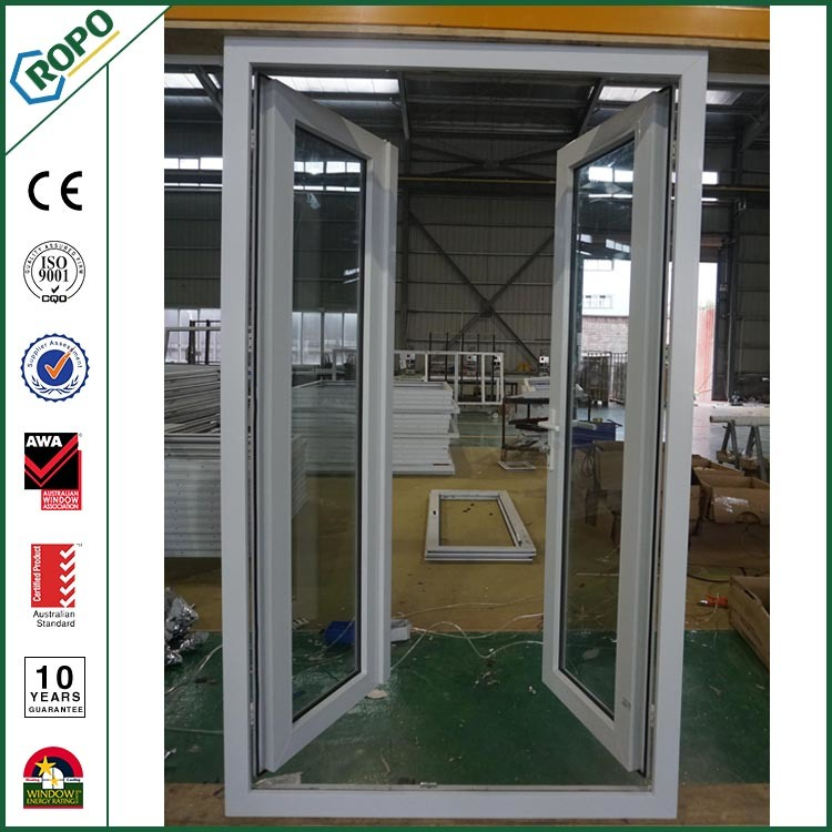 China Hurricane Proof Vinyl Upvc Swing Open Casement Doors For Sale