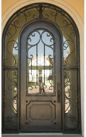 Hot Item Round Top Wrought Iron Single Door With Transom And Sidelights