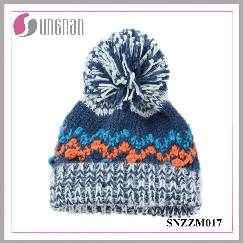 [Hot Item] Warm Multicolor Wool Cap Men Wavy Patterns Knitted Hat