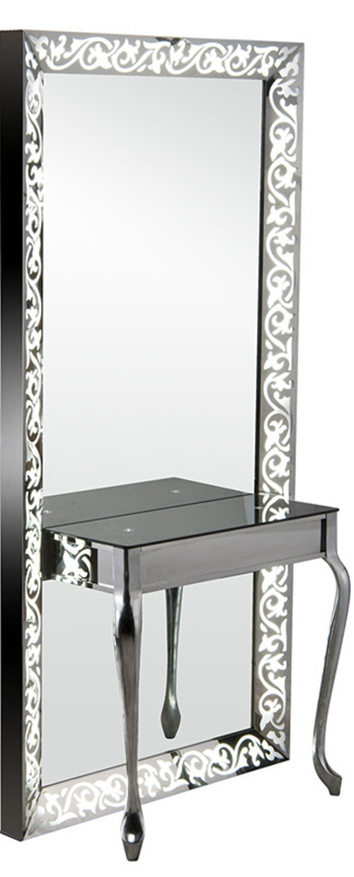 China Full Length Single Side Carving Lighted Salon Mirror Station My B050 Styling Unit