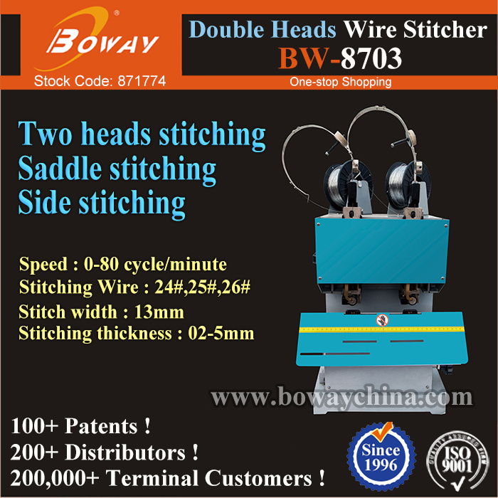 24# 25# 26# Paper Sheets Booklet Double Heads Wire Side Flat Saddle Folding Stitching Binding Machine pictures & photos