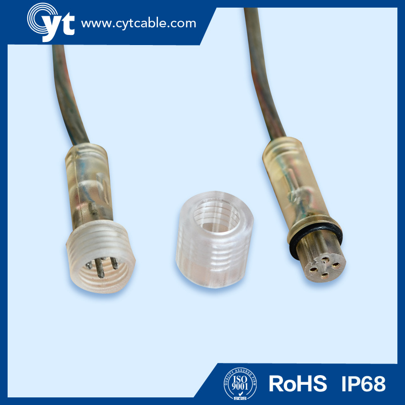 4 Pin Transparent Waterproof connector Wire for LED Lighting