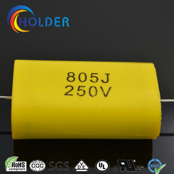 Axial Metallized Polypropylene Capacitor (Cbb20 805j/250V) with Copper Wire Yellow RoHS for Running (CBB20 Series)