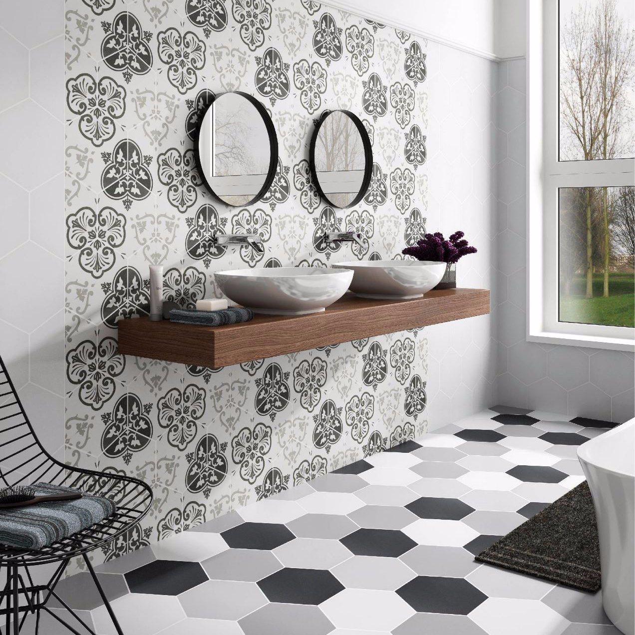 Hot Item Decorative Inkjet Pattern Ceramic Hexagon Floor Decor Tiles
