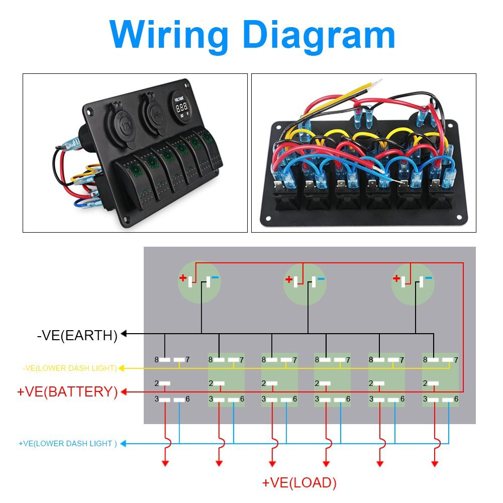 marine cigarette lighter schematic wiring diagram china 6 gang marine ignition toggle rocker switch panel waterproof  marine ignition toggle rocker switch