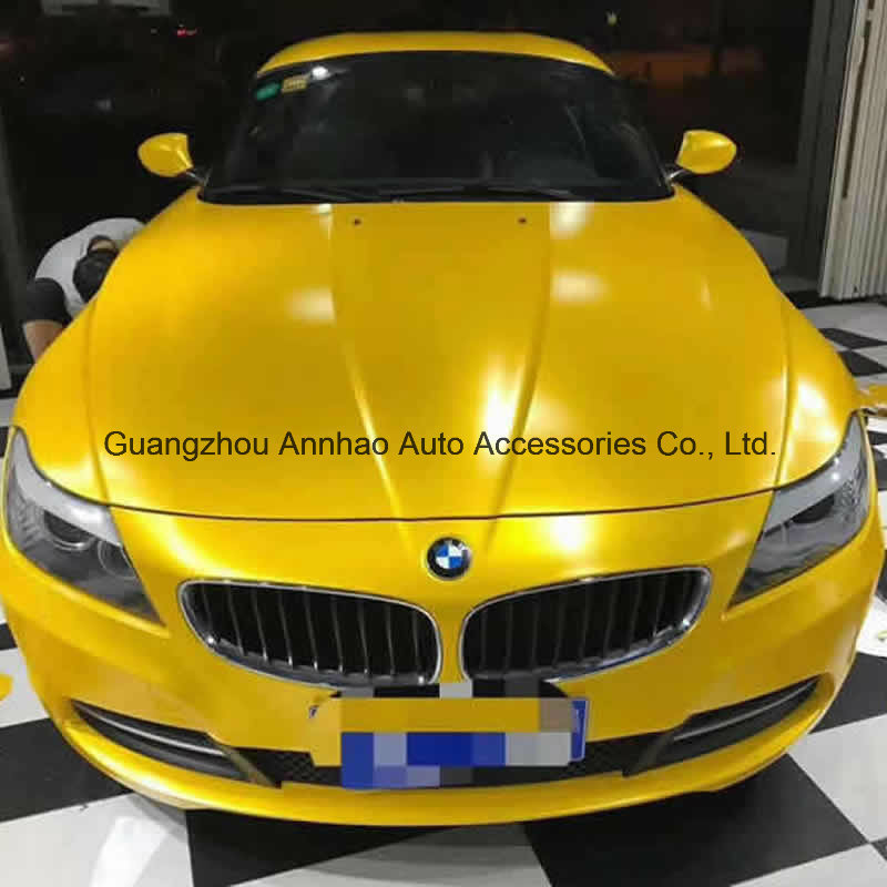 [Hot Item] Yellow Metal Satin Lightning Metal Chrome Auto Wrap Vinyl