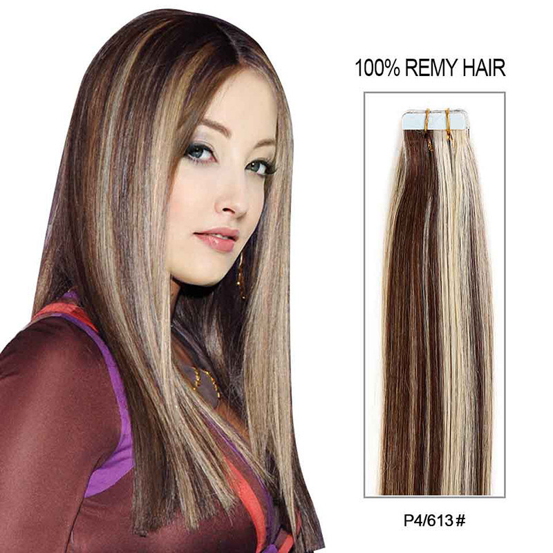 China Piano Color Remy Tape In Hair Extensions On Tape Weft Hair