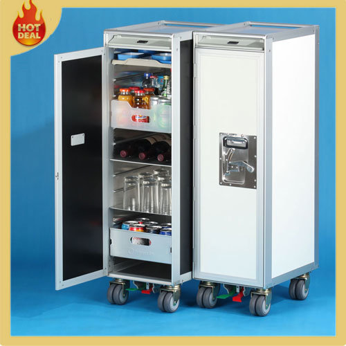 Half Size Aluminum Alloy Aviation Inflight Meal Trolley Cart