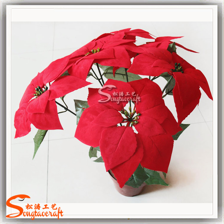 China 2015 Artificial Fake Plastic Poinsettia Silk Flowers For