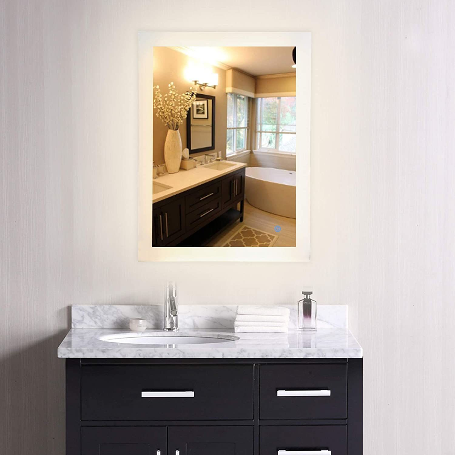 Image of: China Led Lighted Bathroom Wall Mounted Mirror Plug In Modern Rectangle Led Lighted Wall Mirror With Lights Contemporary Fog Free Vanity Cosmetic Backlit Touch Bath Photos Pictures Made In China Com