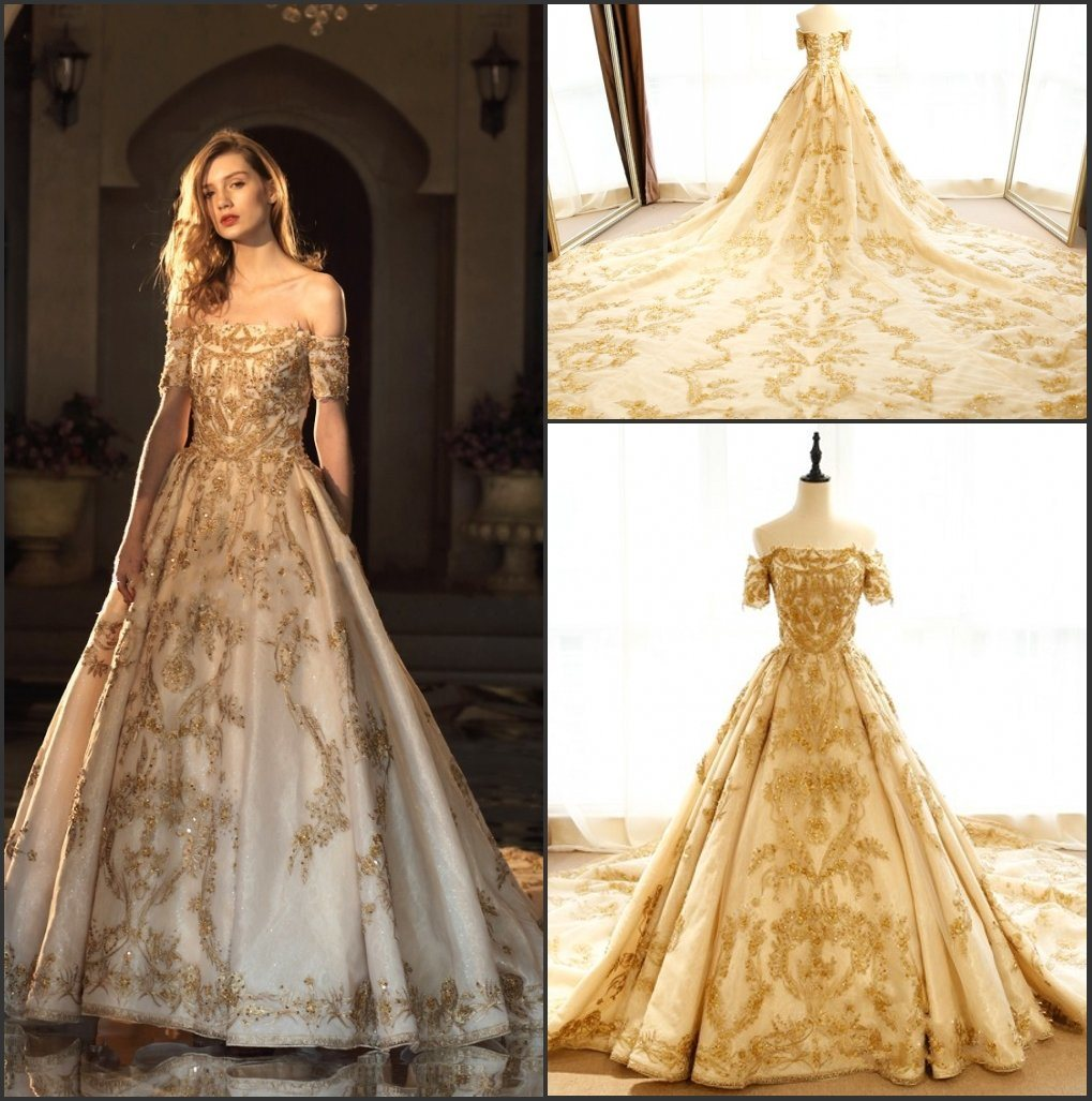 Off Shoulder Party Prom Dresses Gold Embroidery Bridal Wedding Gowns Z513