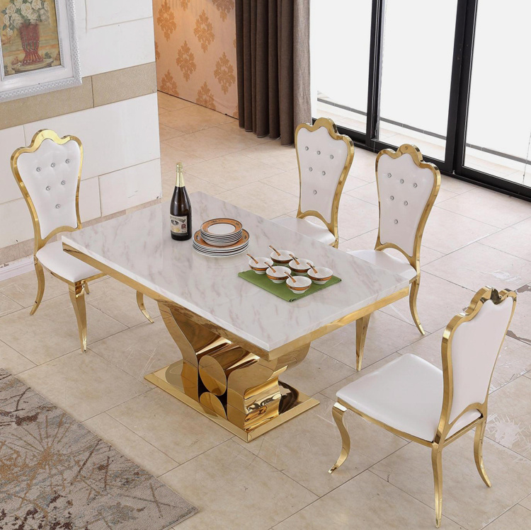 China Cheap Price Living Room Furniture Golden Stainless Steel Dining Table  With New Design   China Dining Table Set, Dining Set