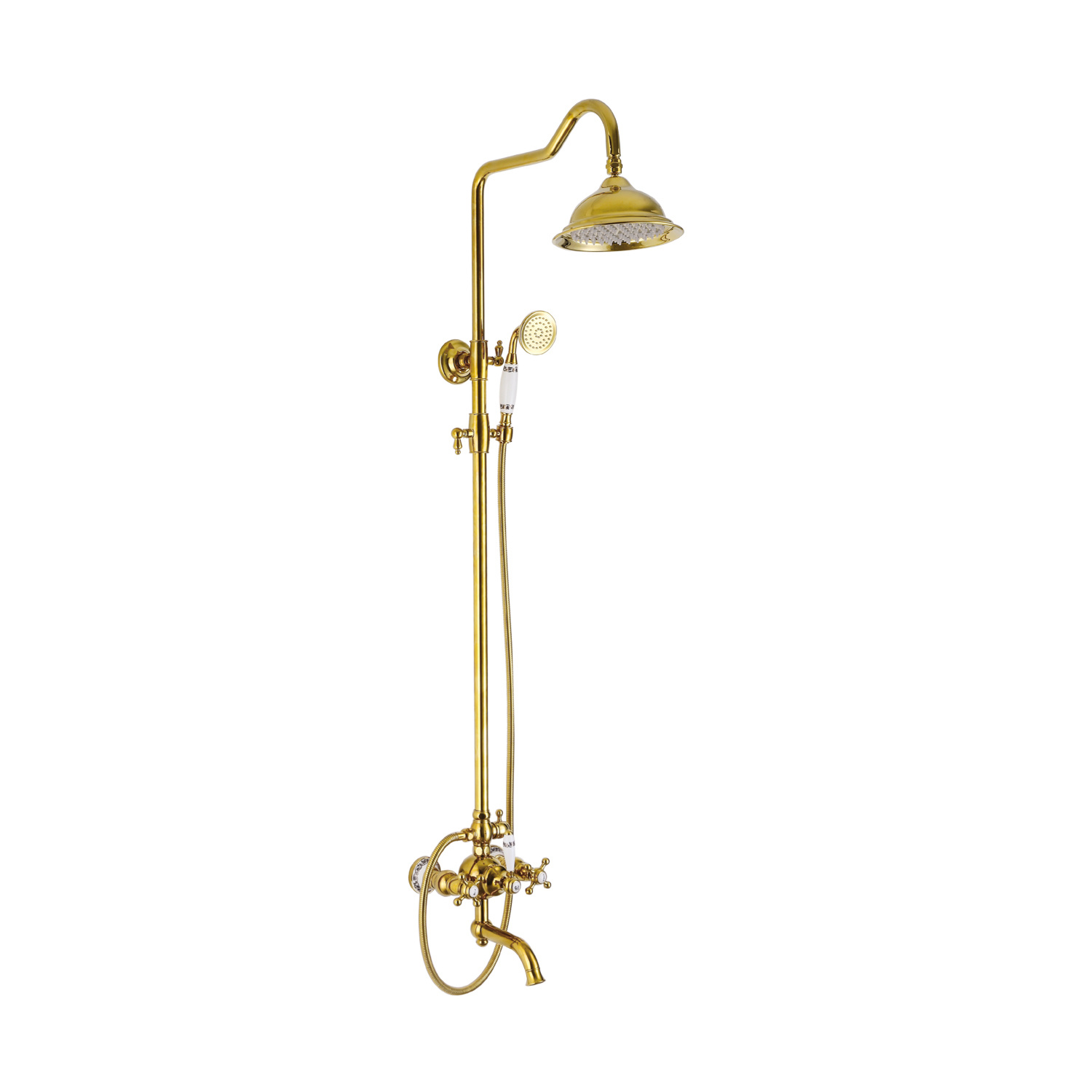 China Gold Plated Rain Shower And Handheld Shower Combo