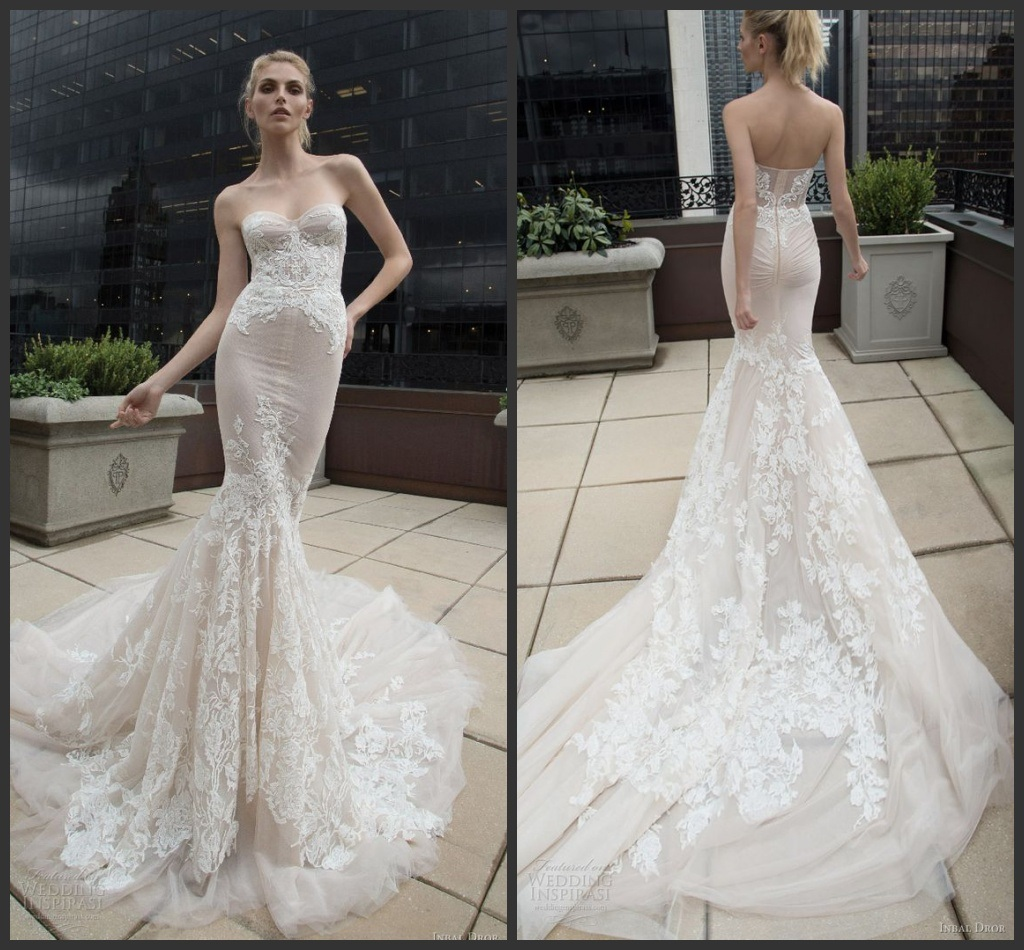 China Strapless Nude Lining Bridal Gown Lace Tulle Wedding Dresses ...
