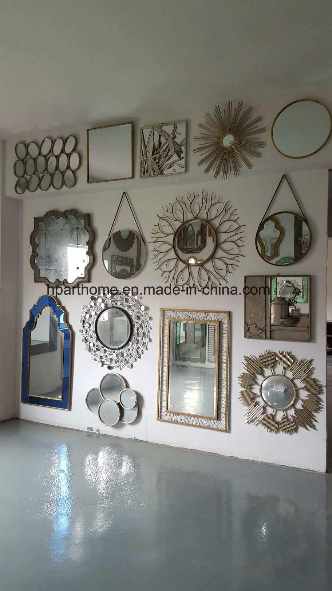 Flat Decorative Mirror Collection Framed In Brushed Gold Finish