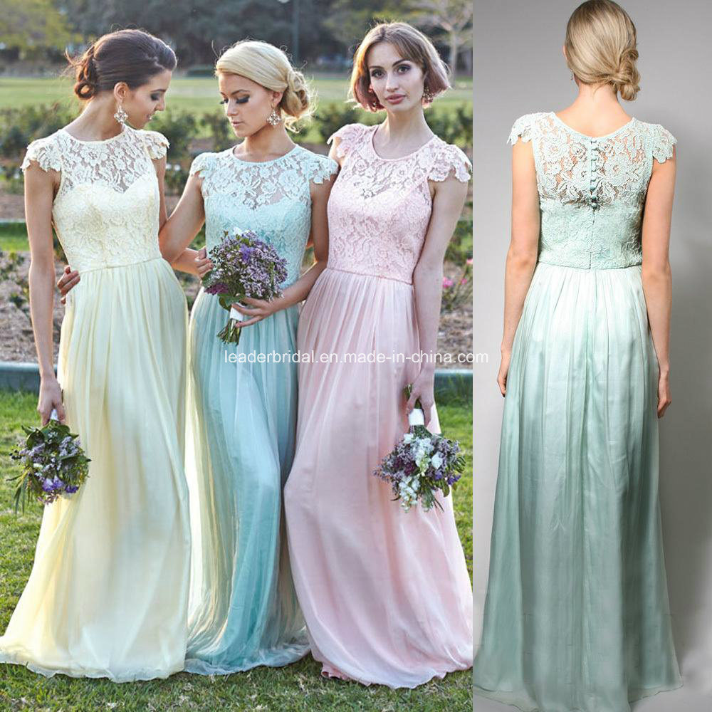 China Chiffon Evening Gowns Cap Sleeves