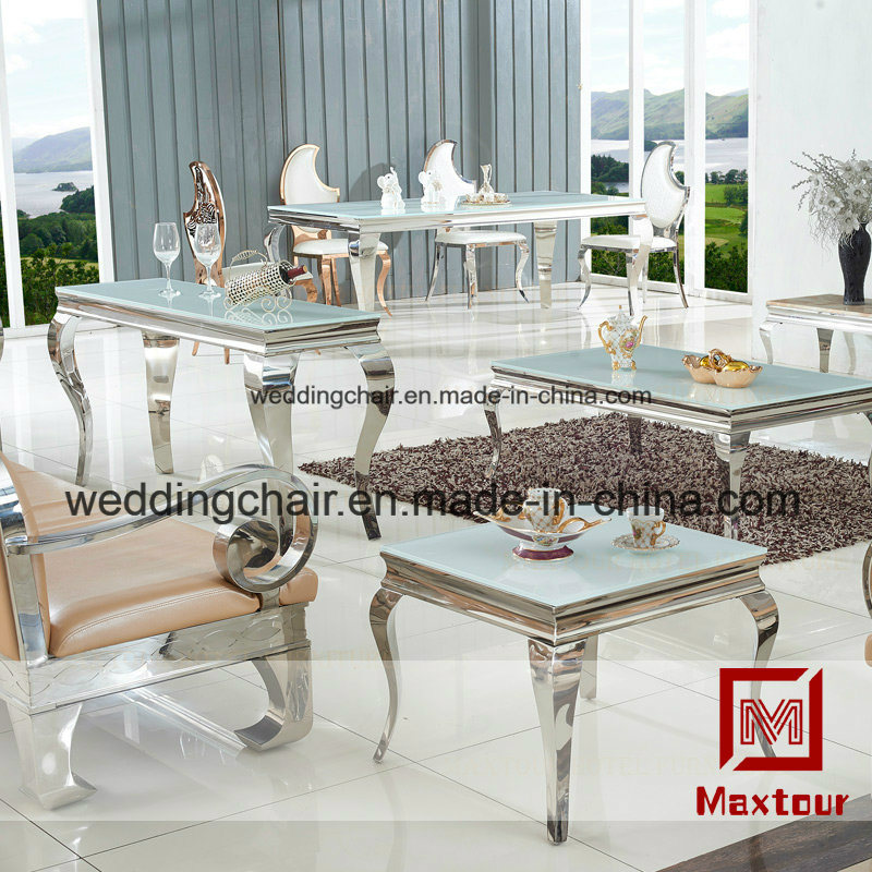 [Hot Item] Dining Room Furniture Mirrored Silver Stainless Steel Dining  Table Custom