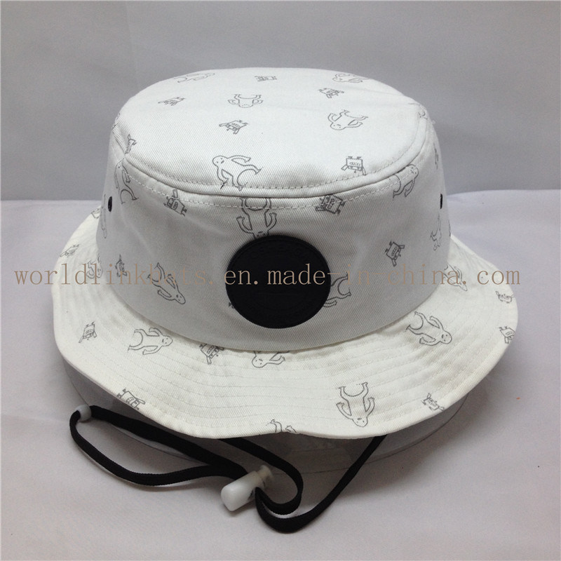China 100% Cotton Fisherman Bucket Hat with Strings and Leather Patch -  China Bucket Hat e16347766d8