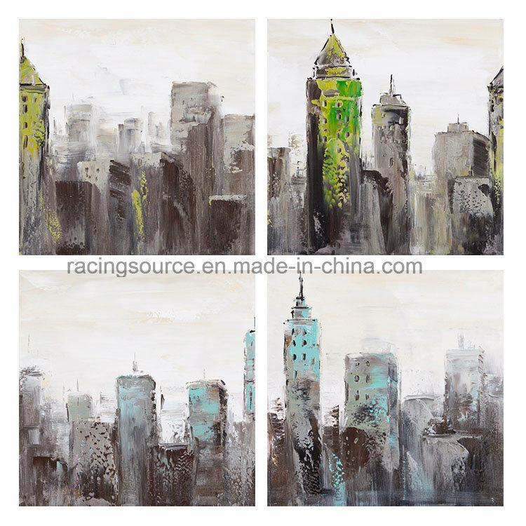 Morden Printed Canvas City Landscape Hand Canvas Painting