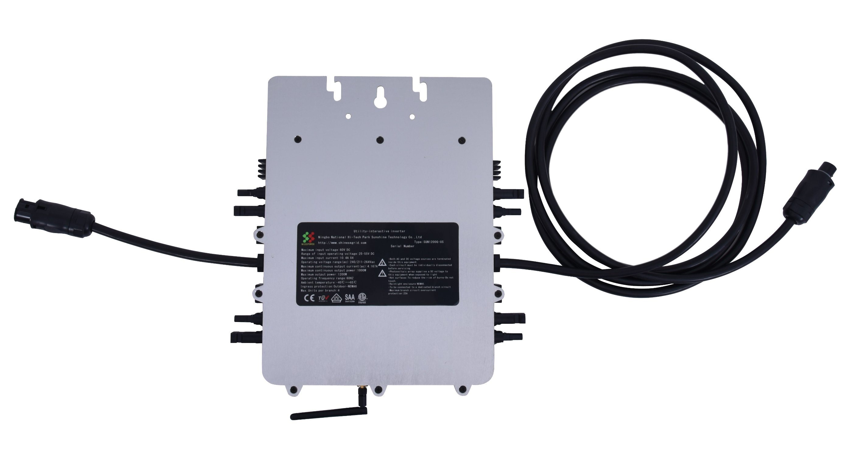 China 250w 500w 1200w Waterproof Solar Power Micro Grid Tie Inverter Wiring Panels To