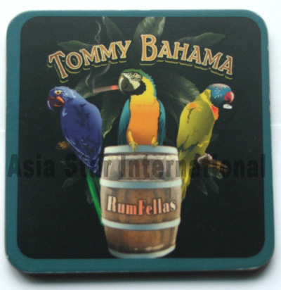 Square Black Withthree Parrot Printed Cork Coaster