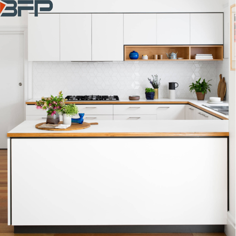 China Nodic Style White Matt Pvc Vinyl Customized Kitchen Cabinets China Kitchen Cabinets Kitchen Furniture