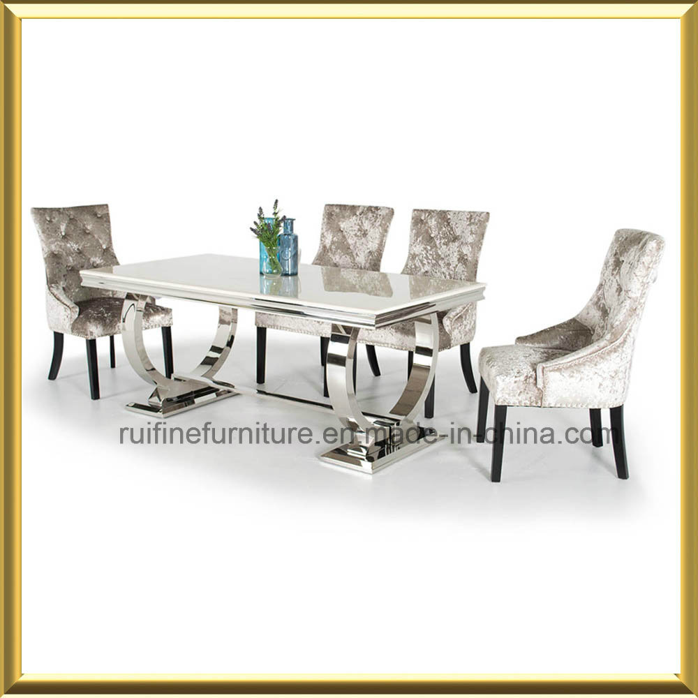 China Modern Circle Chrome U Shape Base Solid Marble Dining Table Stainless Steel