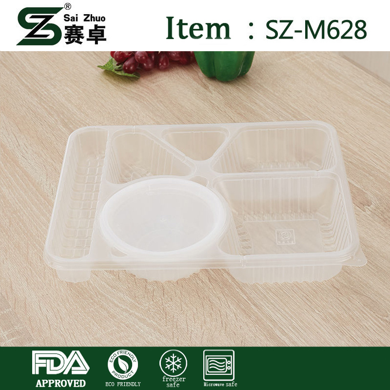 China Disposable Plastic 6 Compartment Food Container with Airtight ...