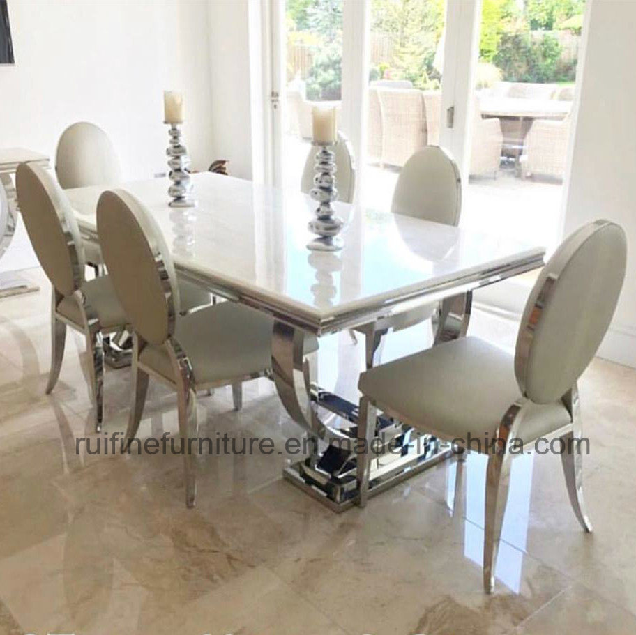 China dining room furniture modern dining table set with cream marble top china dining table set dining room set