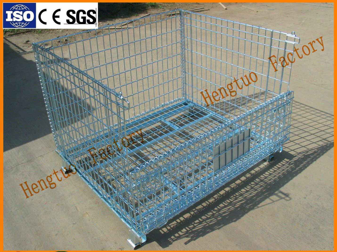 China Heavy Duty Steel Wire Mesh Pallet Container with Pallet Truck ...