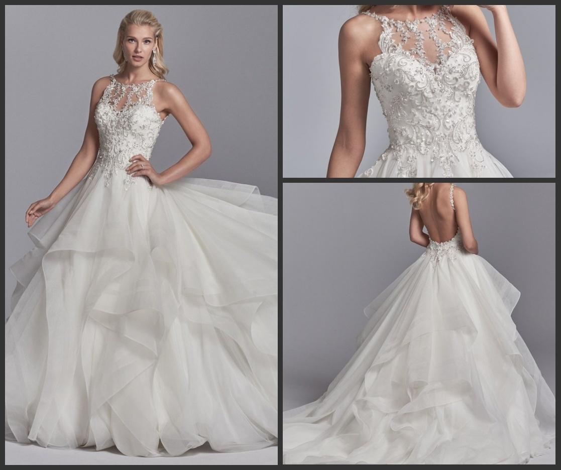 China Spaghetti Straps Wedding Dress Lace Appliqued Organza Bridal