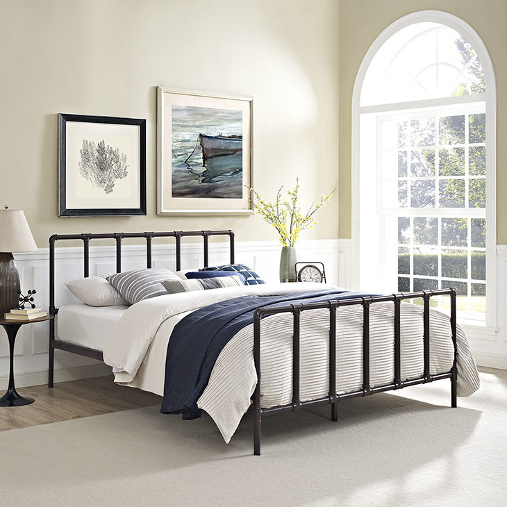 China Antique Industrial Style 160x200cm Queen Metal Bed Frame