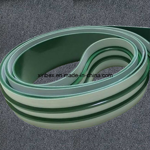 V-Guides PU/PVC Food Processing White/Green Inlined Conveyor Belt pictures & photos