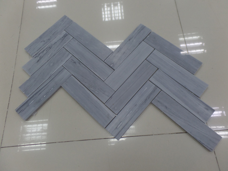 Natural White/Grey Marble Herringbone Mosaic Tiles for Kitchen/Bathroom Flooring pictures & photos