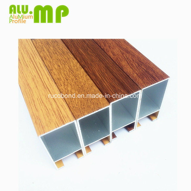 China 6000 Series Wood Color Aluminium Kitchen Cabinet Doors Section