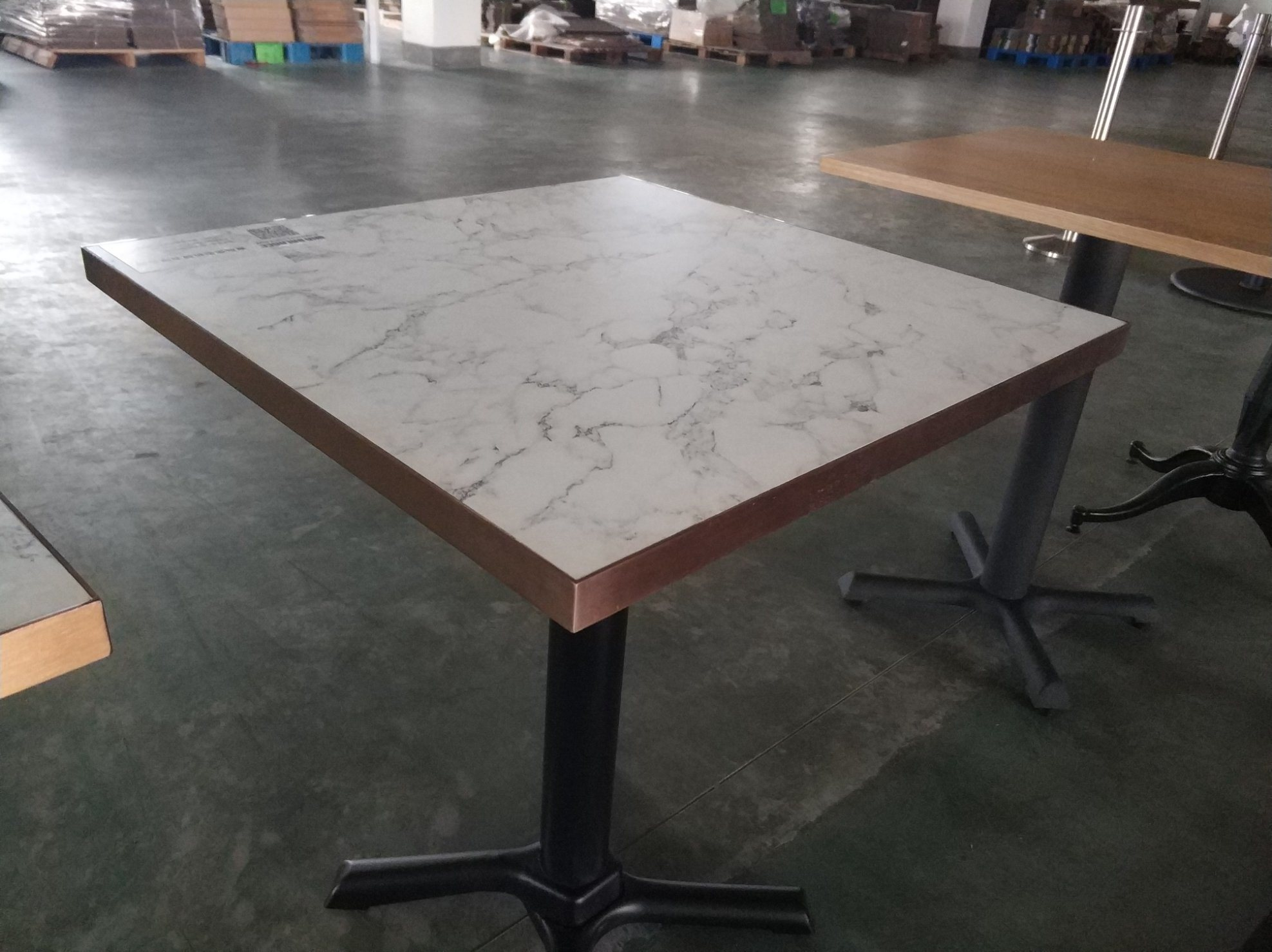 China Metal Edge Marblize Finish Formica Surface Dining Table Top